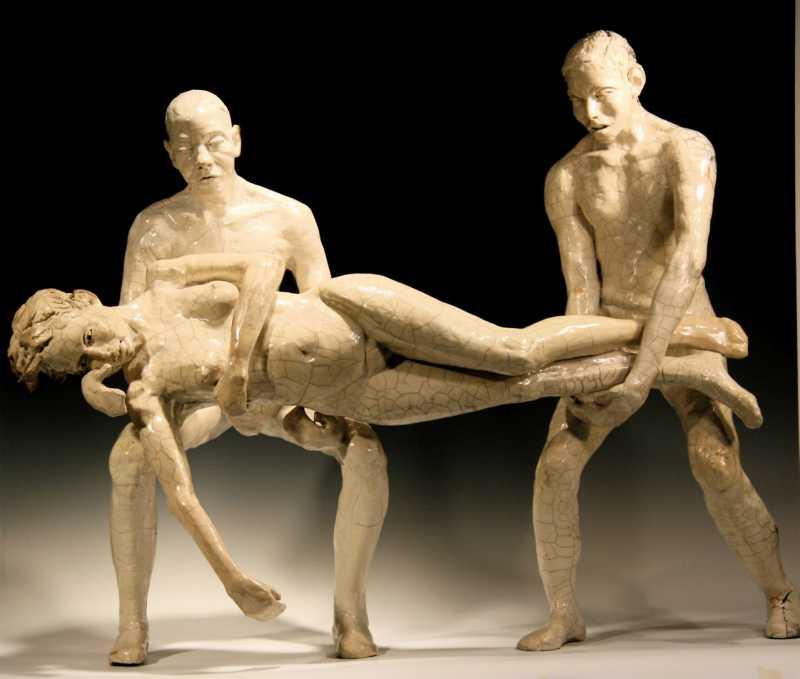 Two_men_holding_woman_butoh_composition-_raku-_36-L-Bob_Clyatt_Sculpture_-1
